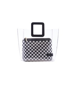 shirley bag in clear/black white beaded