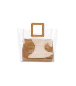 shirley bag in clear/tan faux croc