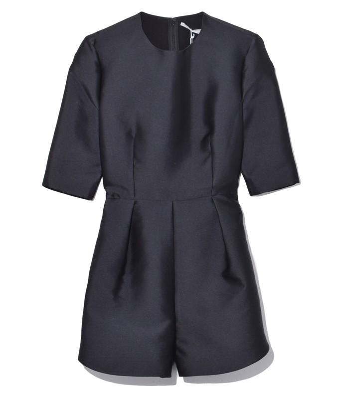 mid sleeve short jumpsuit in black