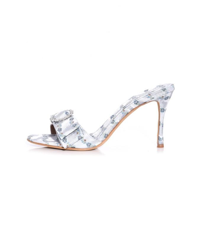 dorothy heel in light blue striped jacquard