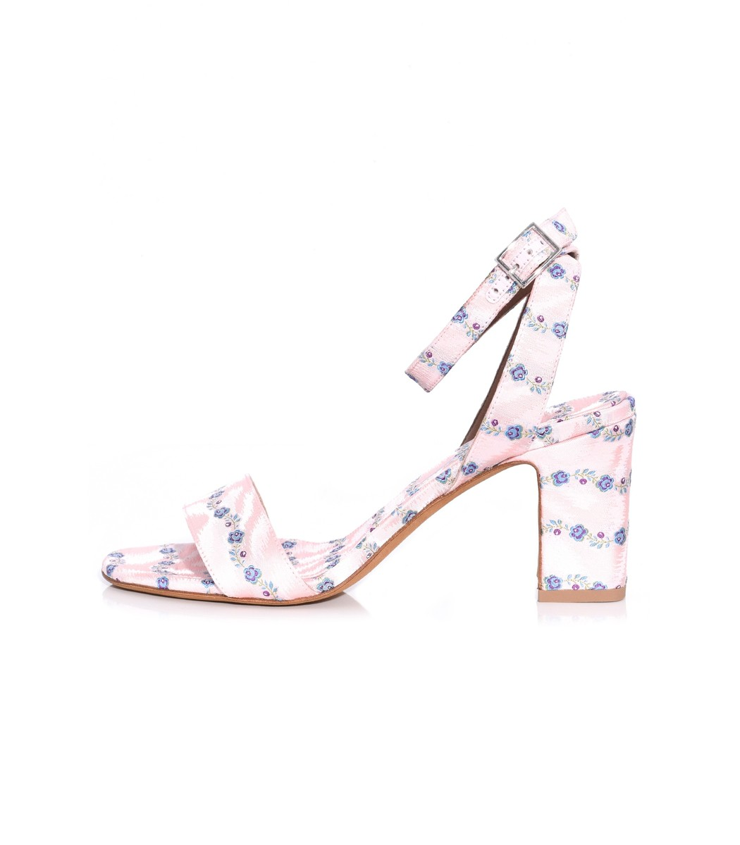 Tabitha Simmons Shoes Leticia Heel in Light Pink Striped Jacquard