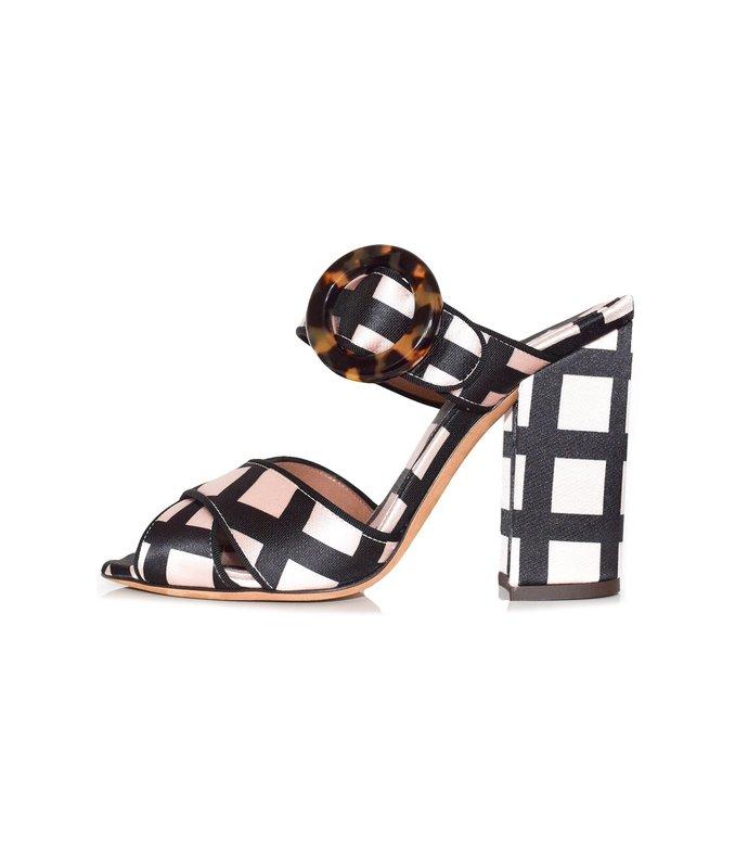 reyner block heel in ecru/black check