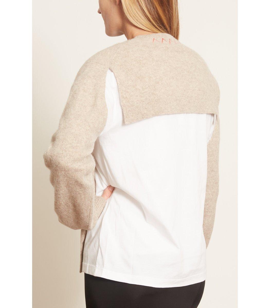 TIBI Downs Lana Layered T-Shirt Sweater in Oatmeal Multi