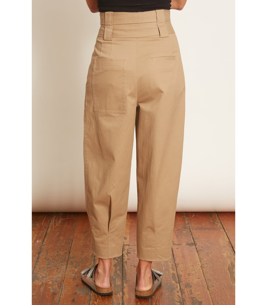 TIBI Cottons Myriam Twill Double Waisted Pant in Khaki