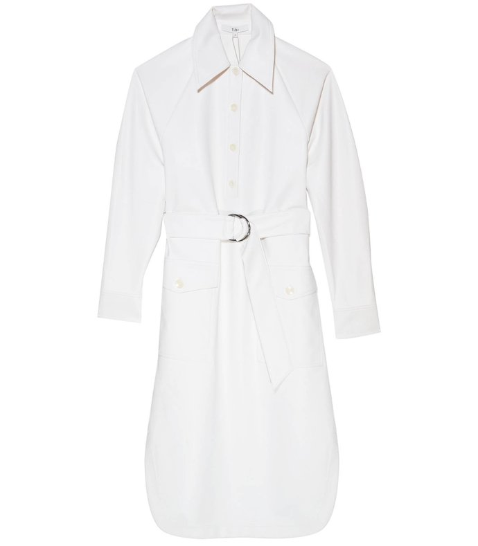 faux leather shirtdress in white