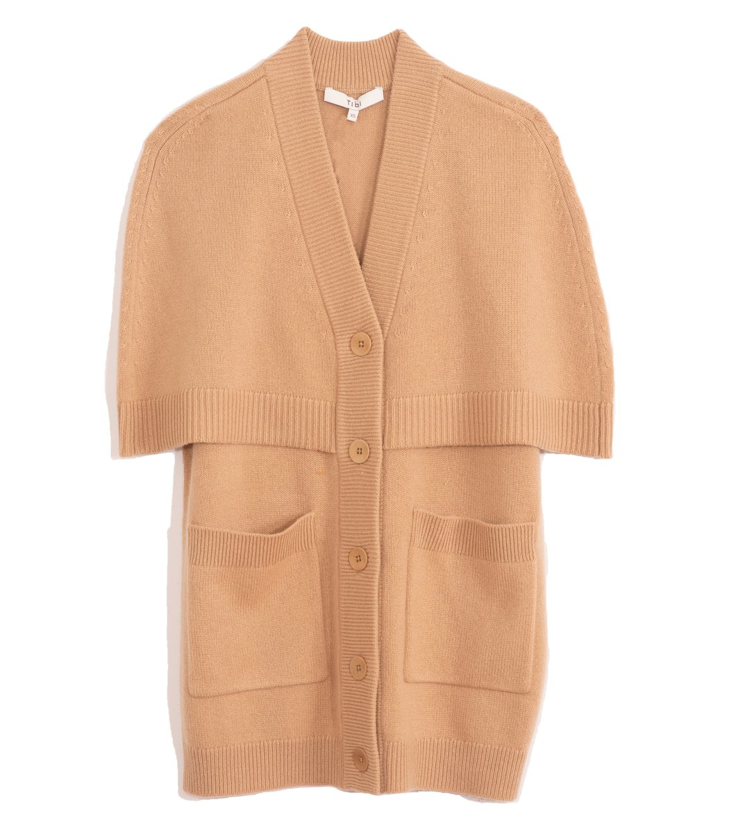 TIBI Spring Cashmere Cocoon Cape Cardigan in Taffy