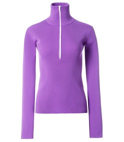 purple tech track zip up pullover