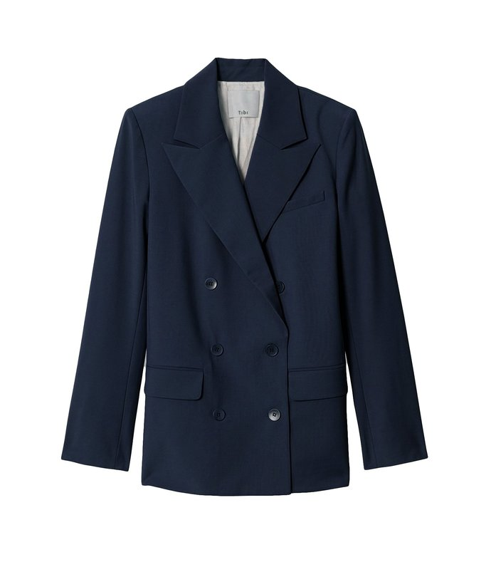 tropical wool double breasted blazer in navy