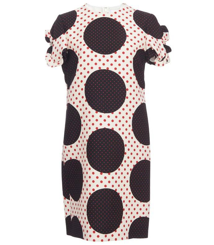 White Multicolor Polka Dot Crepe Dress VAL38PV5-WM-40I/4