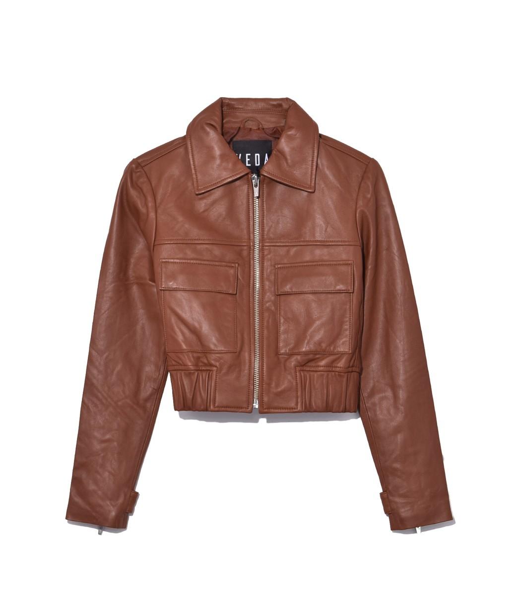 VEDA Brown Saddle Jack Leather Jacket