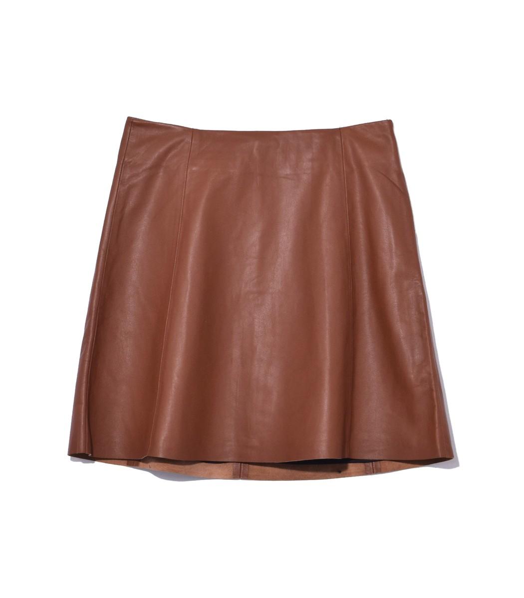 VEDA Brown Saddle Leather Circle Skirt