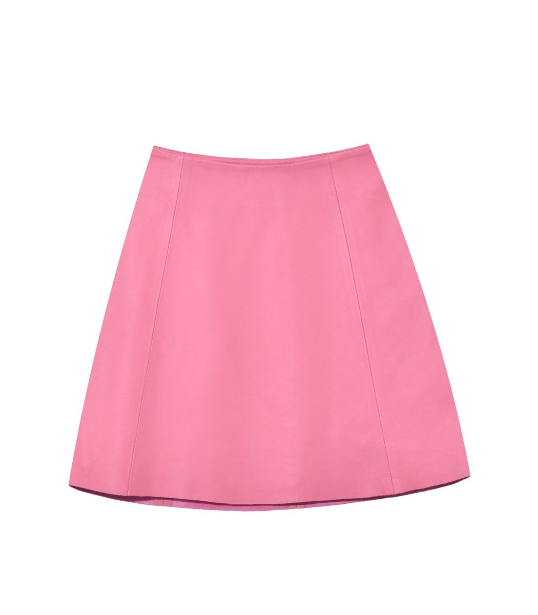 Veda Smooth Leather Circle Skirt in Rosa
