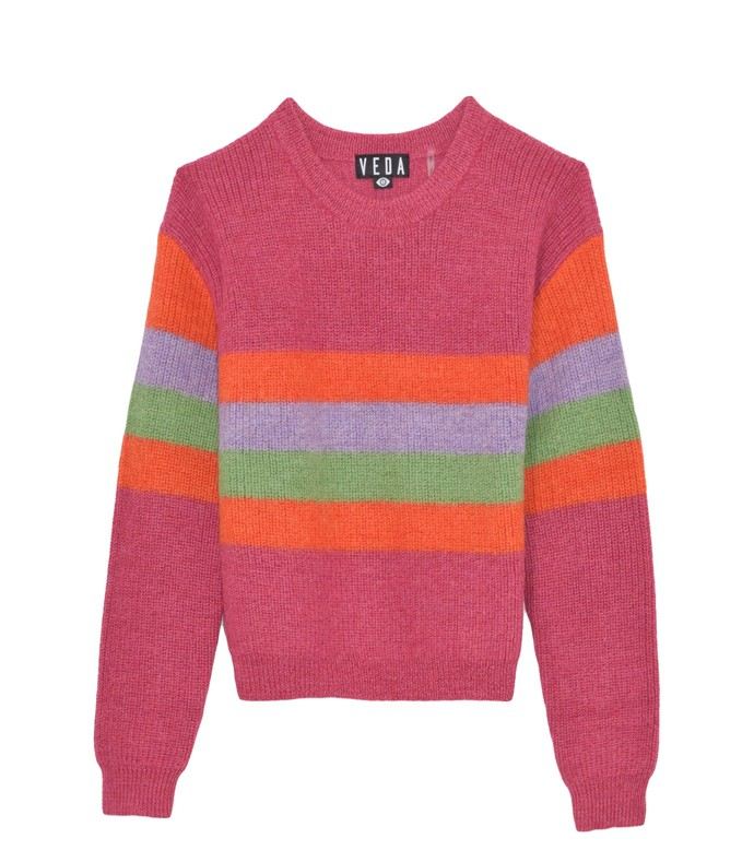 wolfe sweater in bright pink stripes