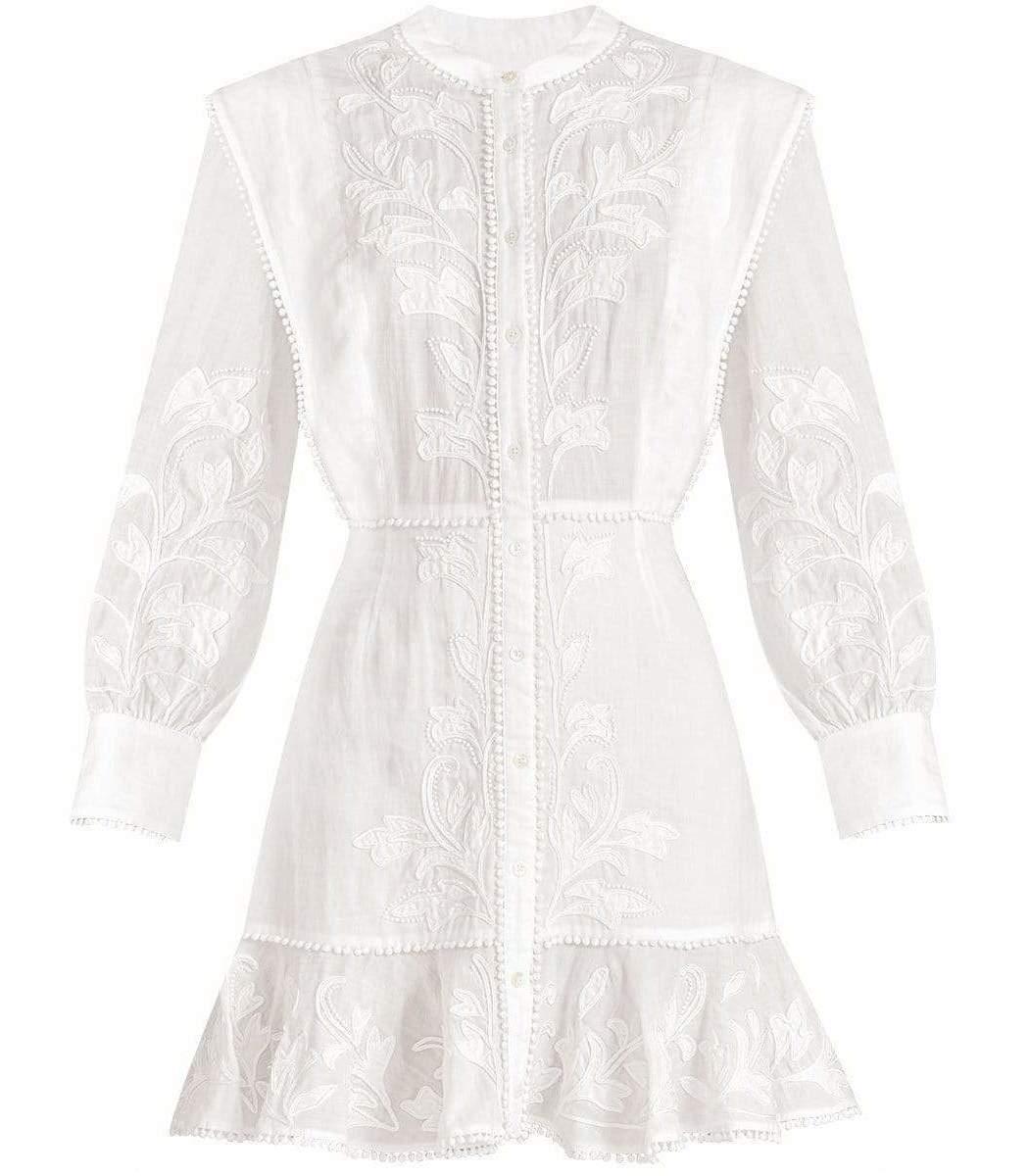 Veronica Beard Dresses White Analeah Embroidered Minidress