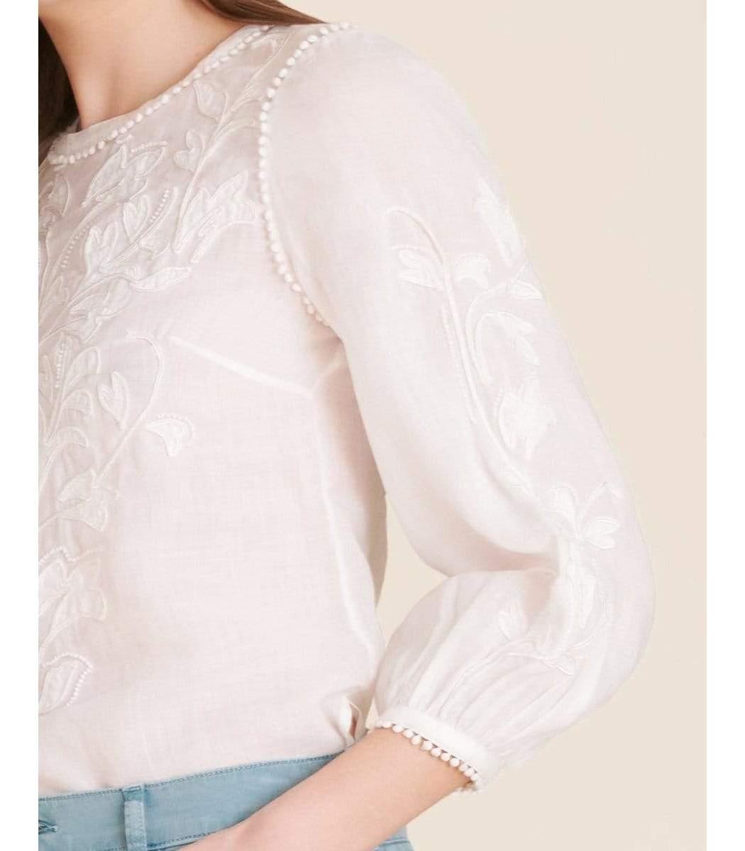 VERONICA BEARD Tops White Maryana Embroidered Top
