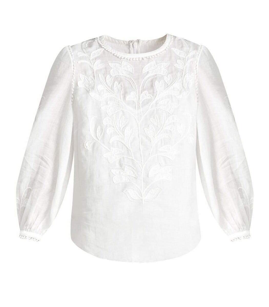 Veronica Beard White Maryana Embroidered Top
