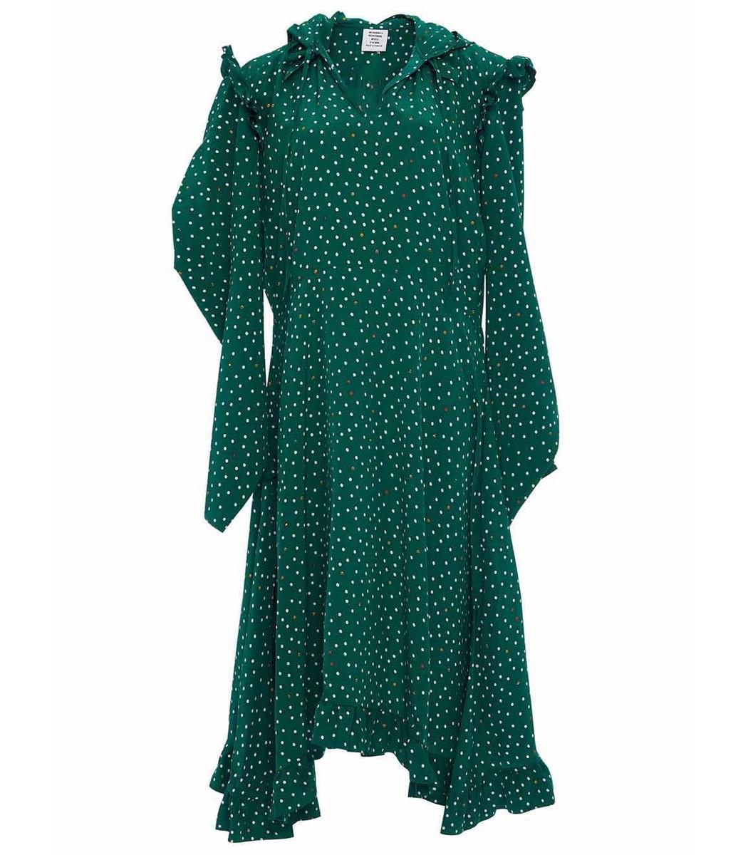 VETEMENTS Green Hooded Emoji Print Dress