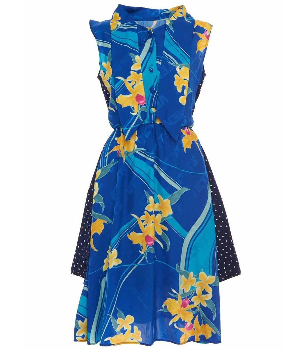 VETEMENTS Blue Multicolor Printed Double Dress