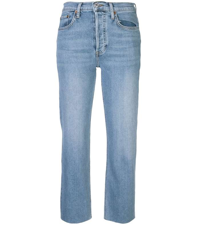 stove pipe flare cropped raw hem jeans