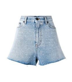 spotted back denim shorts
