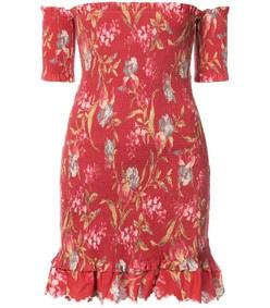 red multicolor off the shoulder floral dress