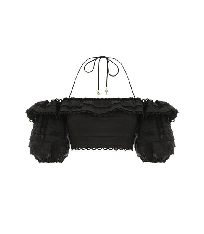 Allia Pintuck Off Shoulder Top in Noir x Shop Bazaar