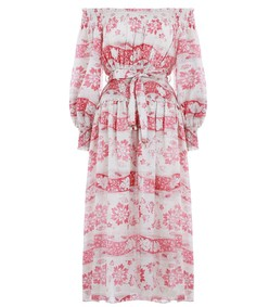 red floral bayou washed long dress