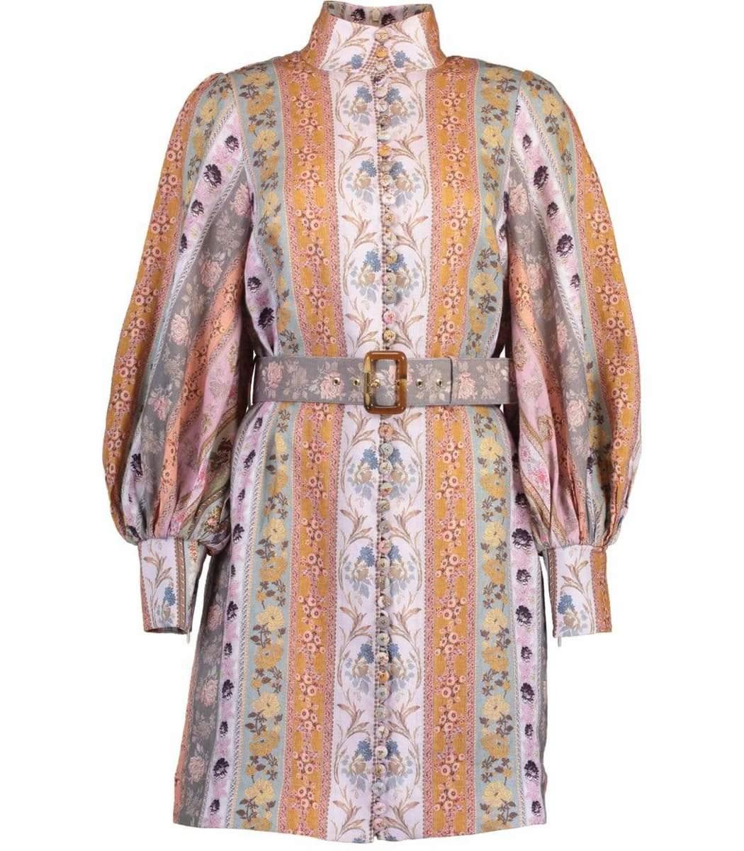 Zimmermann Linens Luminous Mixed Ribbon Mini Dress