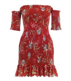 washed iris corsair shirred flutter dress
