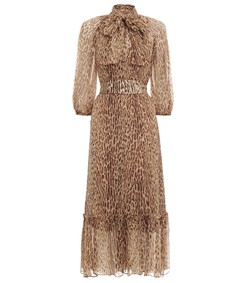 espionage neck tie dress in animal