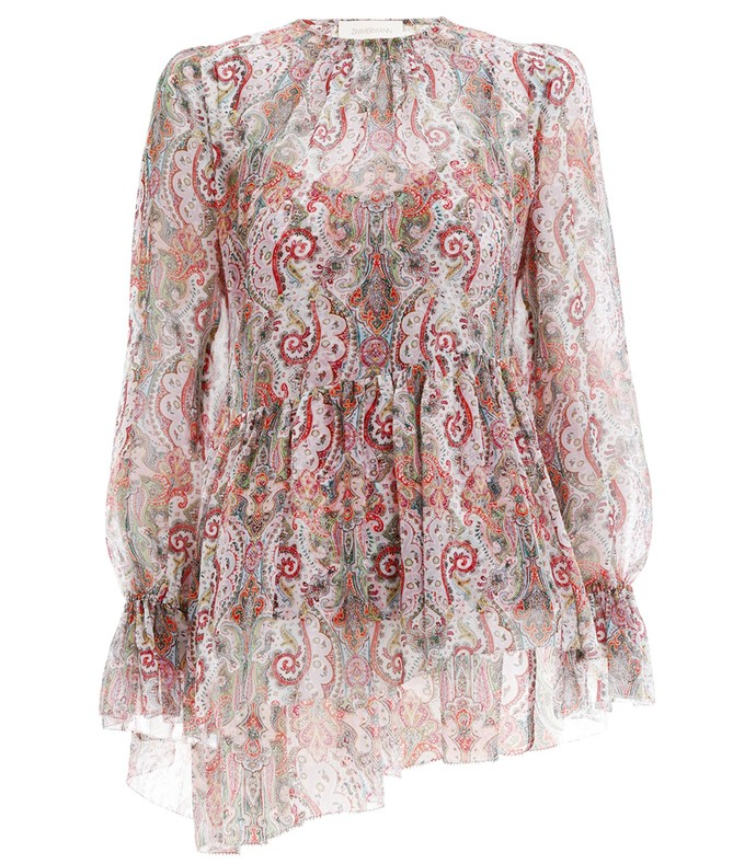 ninety-six asymmetric blouse in multi paisley