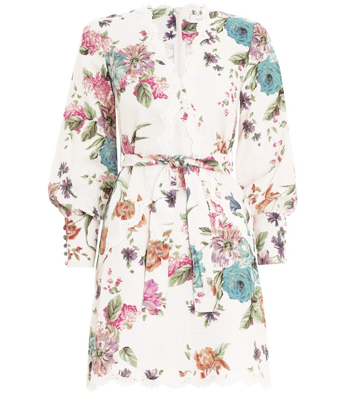 ninety-six scallop dress in cream blossom