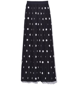 pleated skirt in black/pearl dot