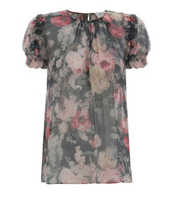 multicolor charcoal washed floral radiate ruffle top