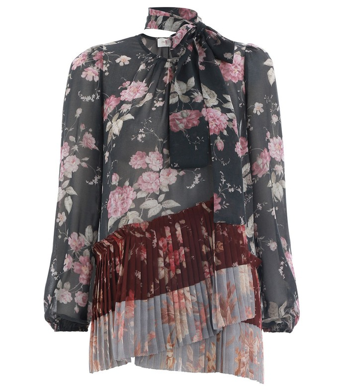 unbridled pleated blouse in spliced