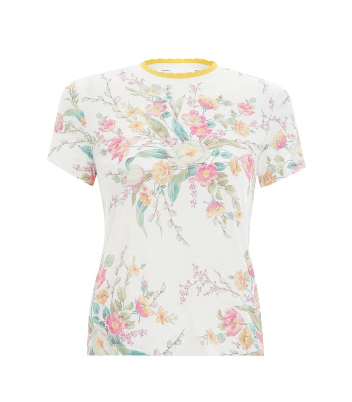 zinnia floral print fitted tee in ivory floral