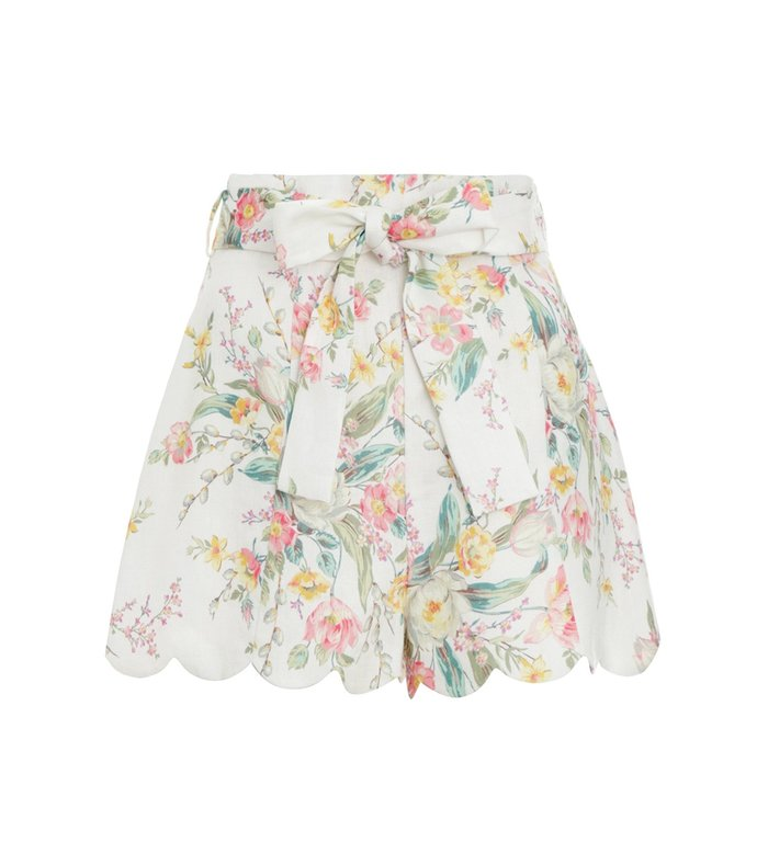 zinnia high waisted short in ivory floral